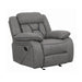 Higgins Overstuffed Upholstered Glider Recliner - Canales Furniture