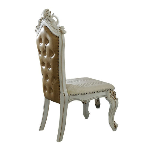 ACME Picardy Side Chair- Fabric/PU & Antique Pearl - Canales Furniture