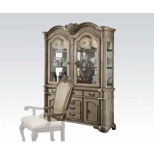 Chateau De Ville Antique White Buffet & Hutch - Canales Furniture