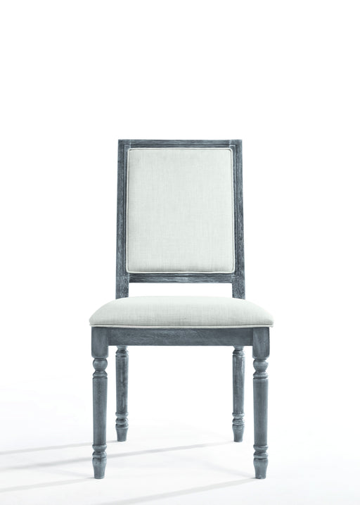 Leventis Cream Linen & Weathered Gray Side Chair - Canales Furniture