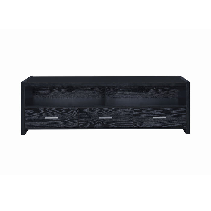 3-Drawer TV Console Black Oak - Canales Furniture