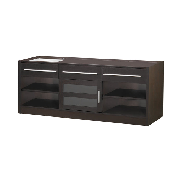 3-Drawer Built-In Connect-It TV Console Cappuccino - Canales Furniture