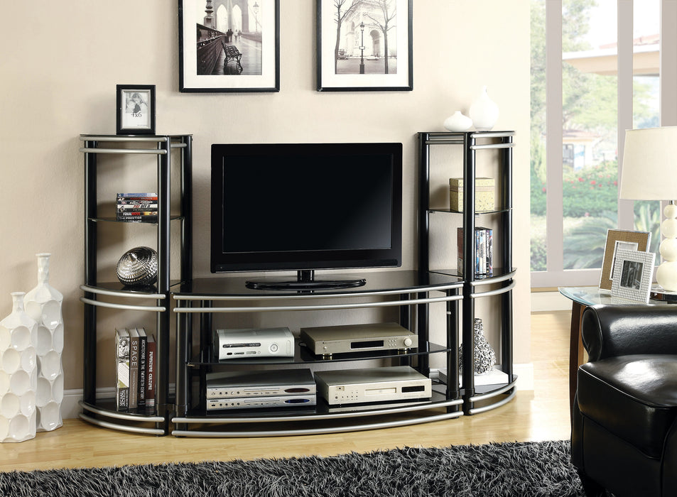 Black and Silver Curved Media Tower - Canales Furniture