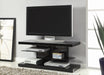 2-Shelf TV Console Glossy Black - Canales Furniture