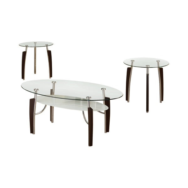 3-Piece Occasional Table Set Cappuccino And Chrome