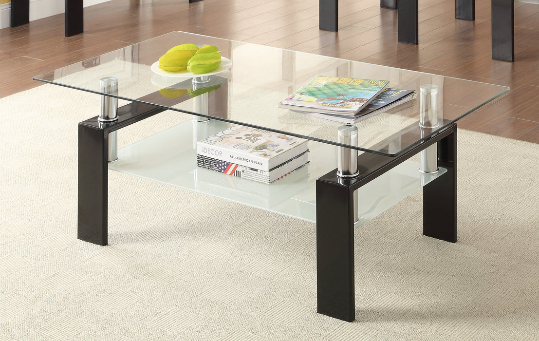 Picture of: Tempered Glass Coffee Table With Shelf Black Canales Furniture