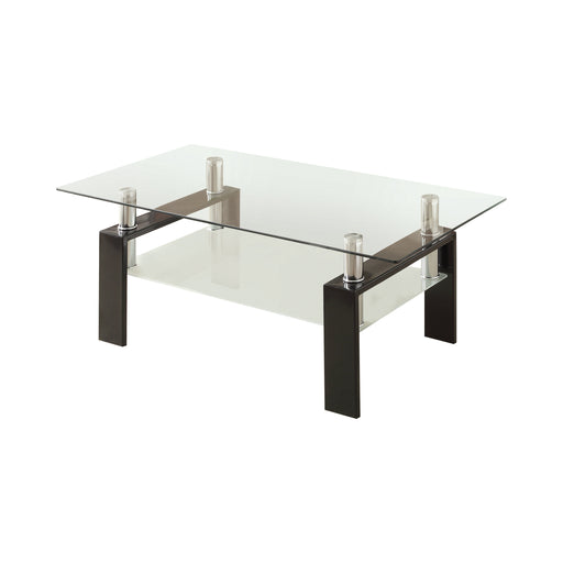 Tempered Glass Coffee Table With Shelf Black - Canales Furniture