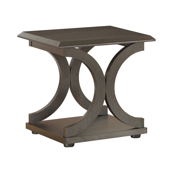 C-Shaped Base End Table Cappuccino