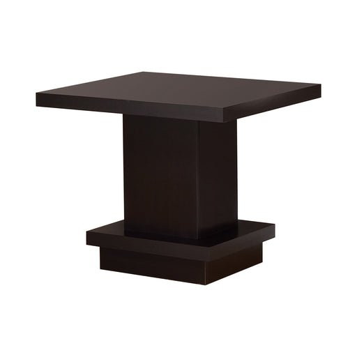 Pedestal Square End Table Cappuccino - Canales Furniture