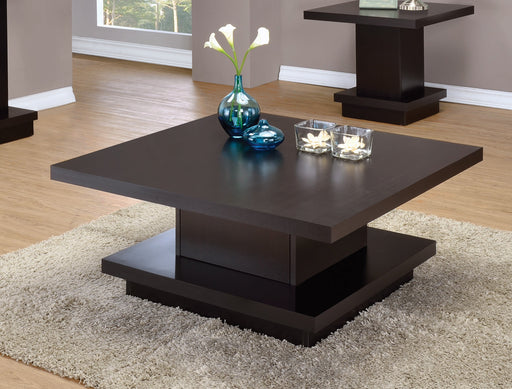 Pedestal Square Coffee Table Cappuccino - Canales Furniture
