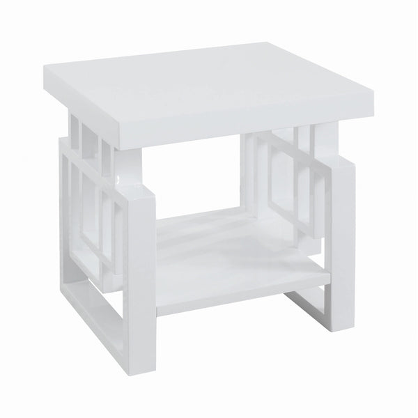 Rectangular End Table High Glossy White