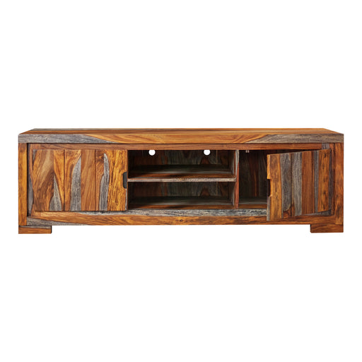 2-Door TV Console Sheesham Grey - Canales Furniture