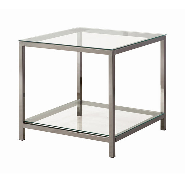 Ontario End Table With Glass Shelf Black Nickel