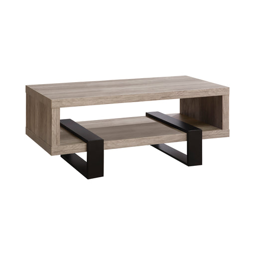 Coffee Table With Shelf Grey Driftwood - Canales Furniture