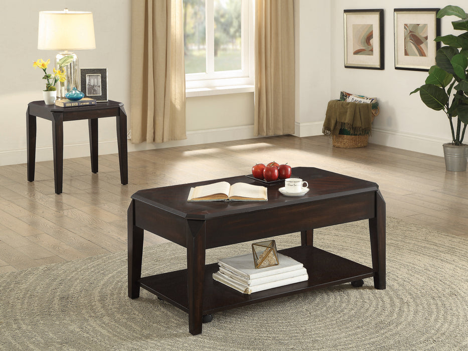 Walnut Modern Lift Top Table Set - Canales Furniture