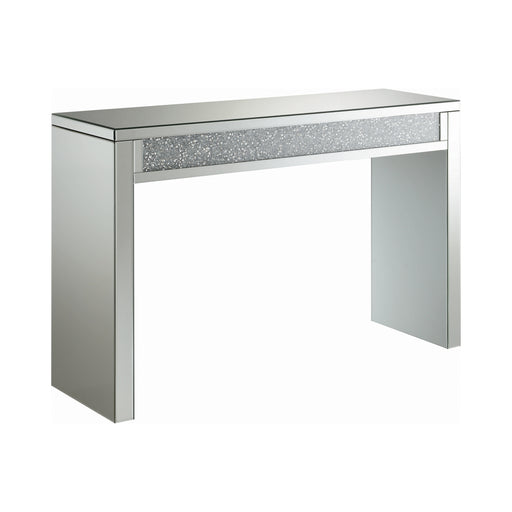 Layton Rectangular Sofa Table Silver And Clear Mirror - Canales Furniture