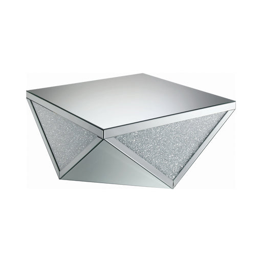 Square Coffee Table With Triangle Detailing Silver And Clear Mirror - Canales Furniture