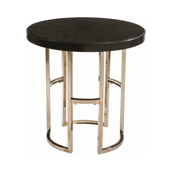 Corliss Round End Table Americano And Rose Brass