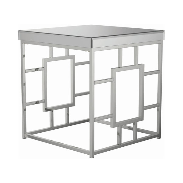 Geometric Frame Square End Table Chrome