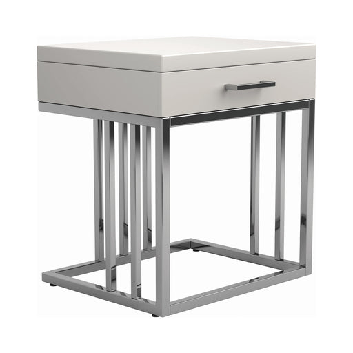 1-Drawer Rectangular End Table Glossy White And Chrome - Canales Furniture