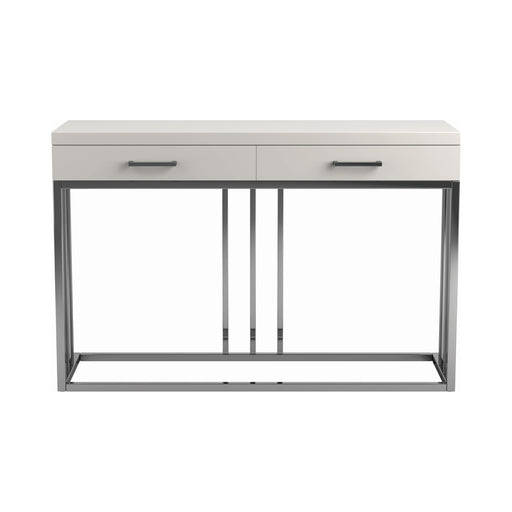 2-Drawer Rectangular Sofa Table Glossy White And Chrome - Canales Furniture