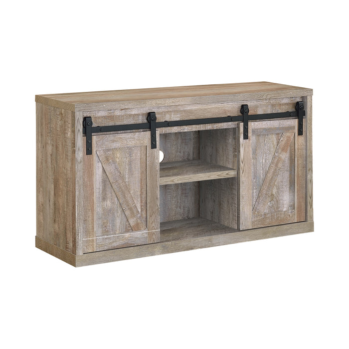 3-Shelf Sliding Doors TV Console Grey Driftwood - Canales Furniture