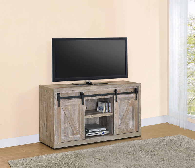 3-Shelf Sliding Doors TV Console Grey Driftwood