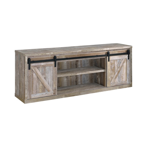 71-Inch 3-Shelf Sliding Doors TV Console Weathered Oak - Canales Furniture
