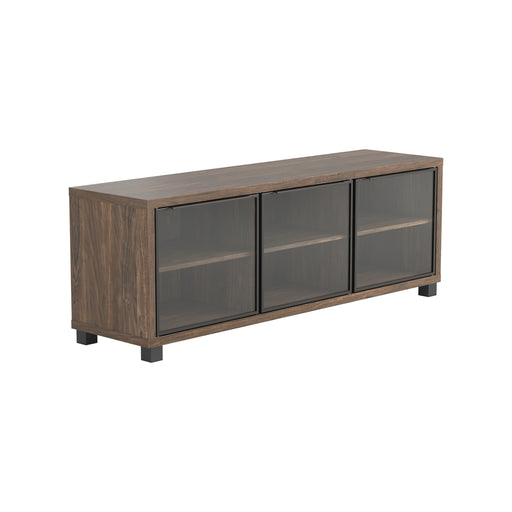 3-Door TV Console Aged Walnut - Canales Furniture