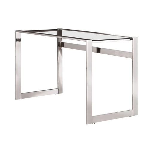 Hader Glass Top Writing Desk Chrome - Canales Furniture