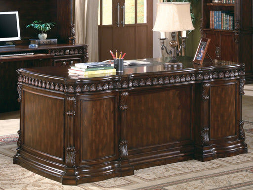 Tucker 5-Drawer Double Pedestal Executive Desk Rich Brown - Canales Furniture