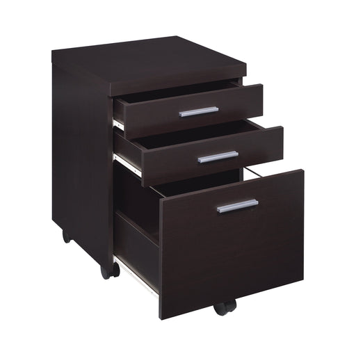 Skylar 3-Drawer Mobile File Cabinet Cappuccino - Canales Furniture