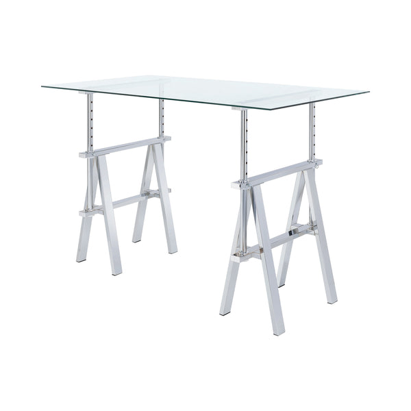 Statham Glass Top Adjustable Writing Desk Clear And Chrome - Canales Furniture