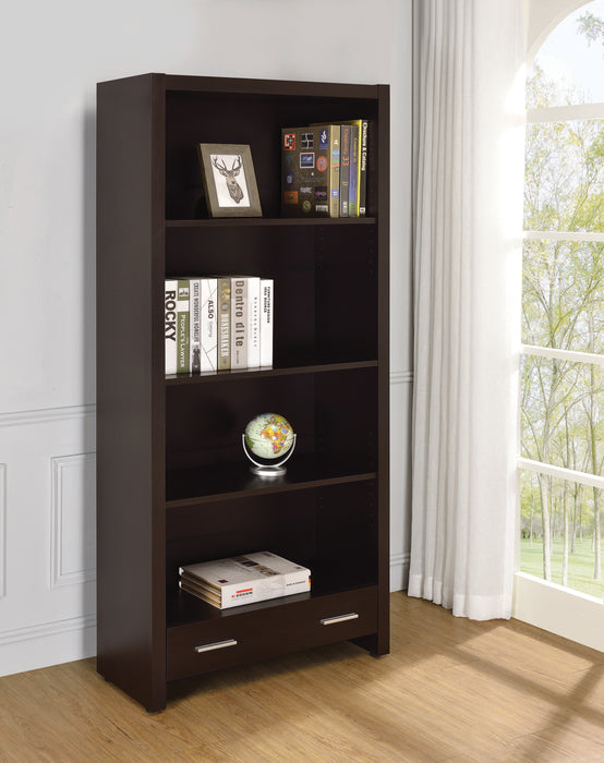 Skylar 5-Shelf Bookcase With Storage Drawer Cappuccino - Canales Furniture