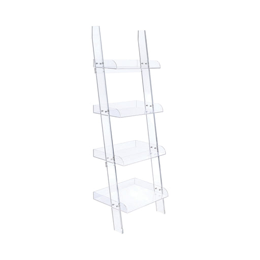 Amaturo 4-Shelf Ladder Bookcase Clear - Canales Furniture