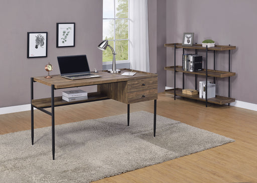 Lawtey 2-Drawer Writing Desk With Outlet Aged Walnut - Canales Furniture