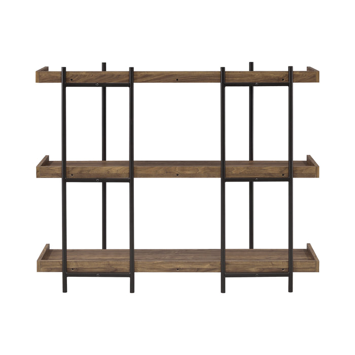 Lawtey 3-Shelf Bookcase Aged Walnut - Canales Furniture
