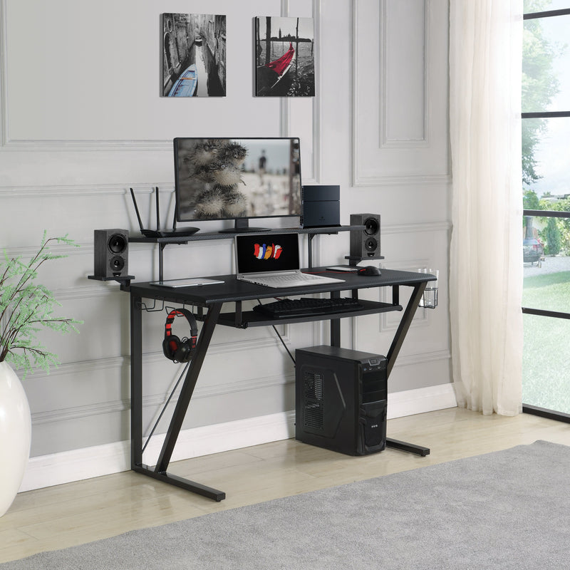 Tech Spec Gaming Desk With Cup Holder Gunmetal - Canales Furniture