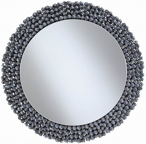 Round Wall Mirror With Textural Frame Grey - Canales Furniture