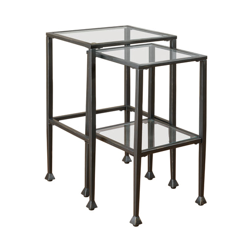 2-Piece Glass Top Nesting Tables Black - Canales Furniture
