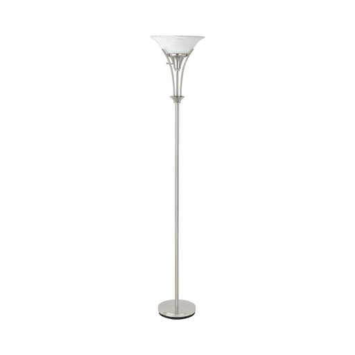 Floor Lamp With Frosted Ribbed Shade Brushed Steel - Canales Furniture