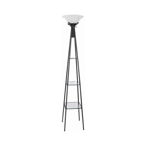 Versatile Shelf Tower Floor Lamp Charcoal Black - Canales Furniture