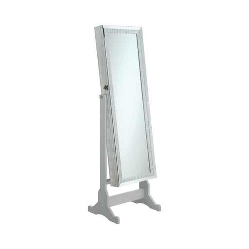 Jewelry Cheval Mirror With Crytal Trim Silver - Canales Furniture