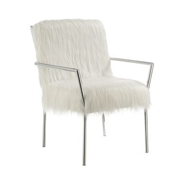 Faux Sheepskin Upholstered Accent Chair With Metal Arm White - Canales Furniture