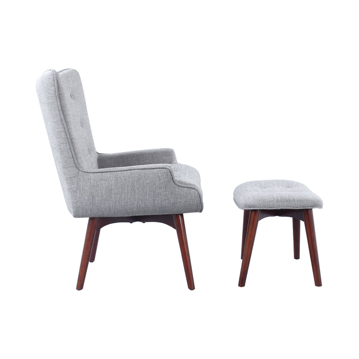 Accent Grey Chair With Ottoman - Canales Furniture