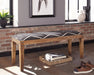Upholstered Bench Natural And Navy - Canales Furniture