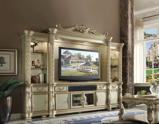 Vendome II Gold Patina & Bone Entertainment Center (Side Piers & Bridge) - Canales Furniture