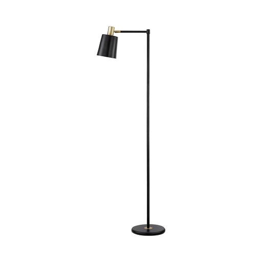 1-Light Floor Lamp With Horn Shade Black - Canales Furniture