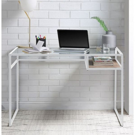 Yasin White & Glass Desk - Canales Furniture
