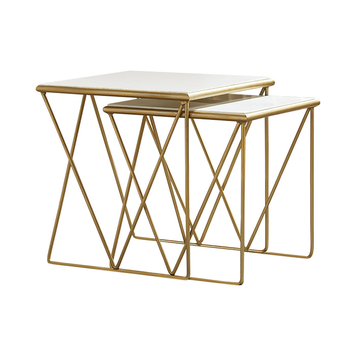 2-Piece Nesting Table Set White And Gold - Canales Furniture